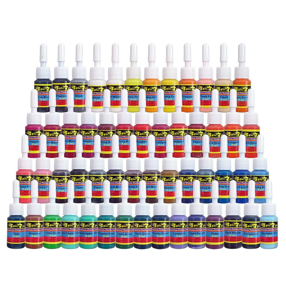 Solong Tattoo Ink Set 54 Complete Colors Pigment Kit 16oz 5ml Tattoo Supply for Tattoo Kit TI1001 5 54